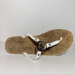 Michael Kors White Thong Flip Flop Sandals